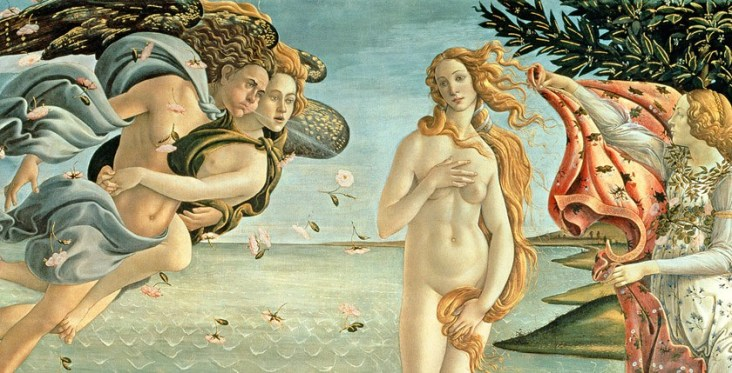 XIR412 The Birth of Venus, c.1485 (tempera on canvas) by Botticelli, Sandro (1444/5-1510); 172.5x278.5 cm; Galleria degli Uffizi, Florence, Italy; Giraudon; Italian, out of copyright
